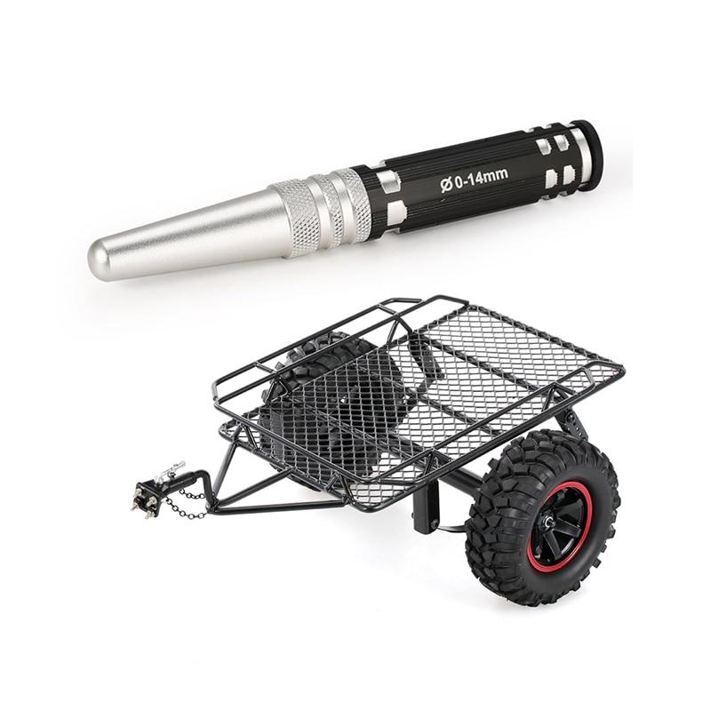 Perforadora, carcasa de perforación en expansión de 0 a 14mm, Metal negro y Metal, marco de tolva de remolque a control remoto, simulación para 1/10 Rock Crawler