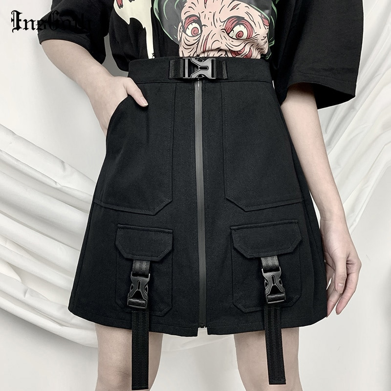 InsGoth Harajuku Grunge Cargo Black High Waist Skirt Streetwear Gothic Women Skirts Summer A-line Mini Punk Bag Buckle Skirts