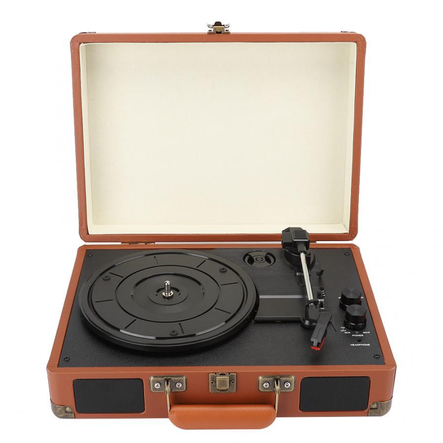 1603-1 Brown Playback Vinyl Bluetooth Music Three Speed Jukebox 100-240V for 18/20/30cm Record US EU UK AU Plug