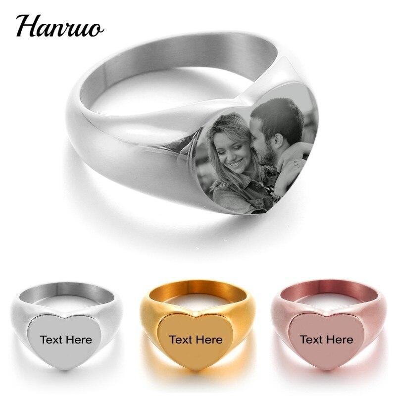 Персонализированные кольца с именем на заказ, в форме сердца, гравировка фото, логотип, название, значок, кольцо из нержавеющей стали, подарк...