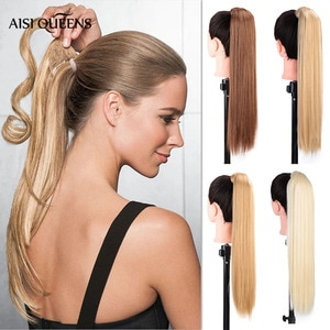 AISI QUEENS Long Wavy Wrap Synthetic Ponytail Hair Extensions Clip In Hair Tail False Hair Pony Tail Hairpiece with Hairpins