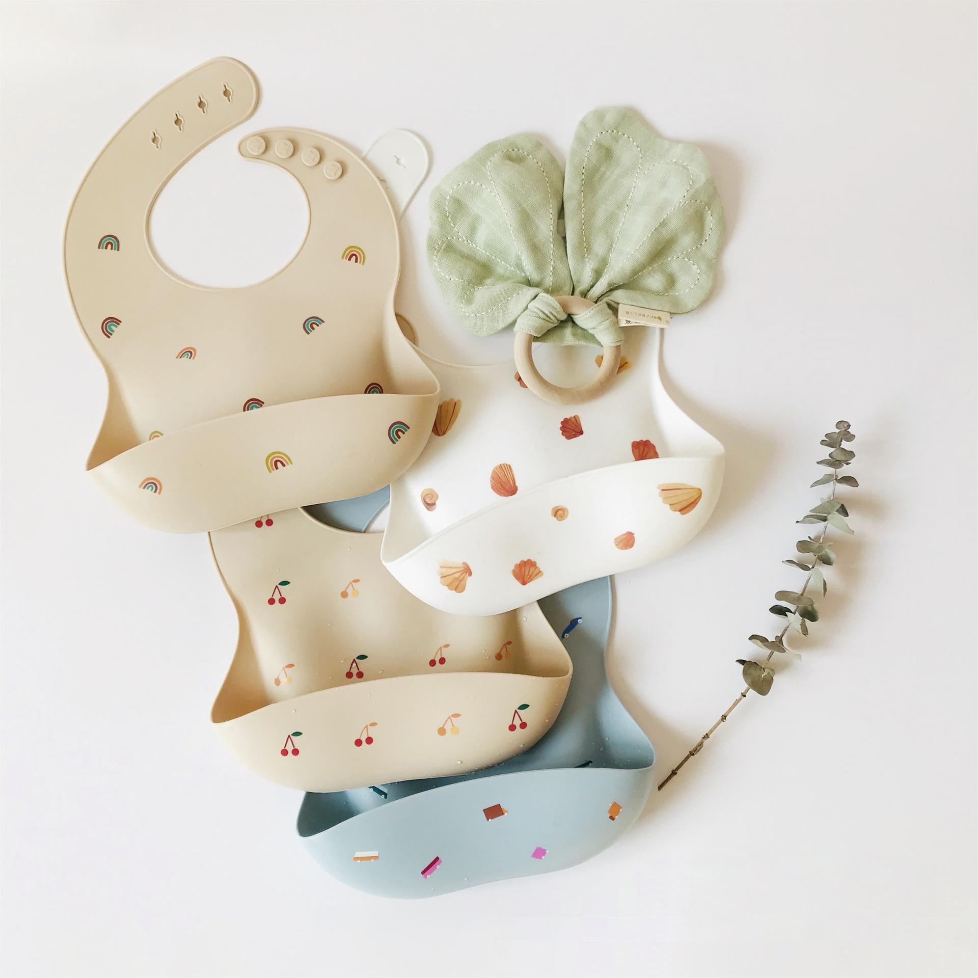 New Baby Bibs Adjustable Cherry Rainbow Print Waterproof  Infant Saliva Dripping Bibs Soft Edible Silicone Towel Dropshipping