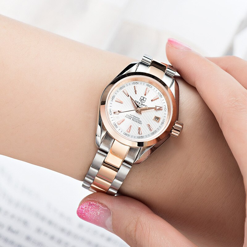 Waterproof  Women Stainless Steel Strap Glass Face  Automatic Round Watch enlarge