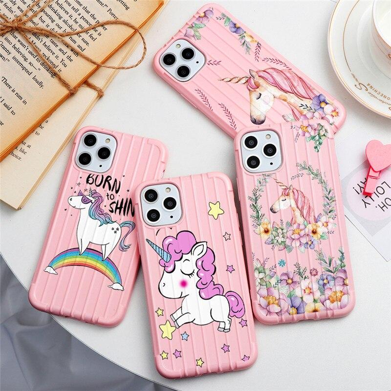 Funda de teléfono troncal para iPhone 6 6S 7 8 Plus 11 Pro X XR XS Max rayas cubierta con dibujos animados unicornio gatos maleta suave funda de silicona