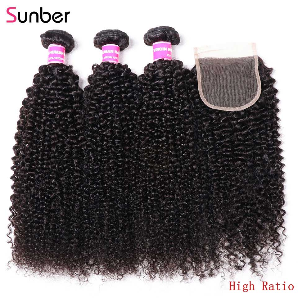 Sunber Hair-وصلات شعر منغولية ، شعر بشري مجعد 100% ، وصلات شعر ريمي ، لون طبيعي ، 3 حزم