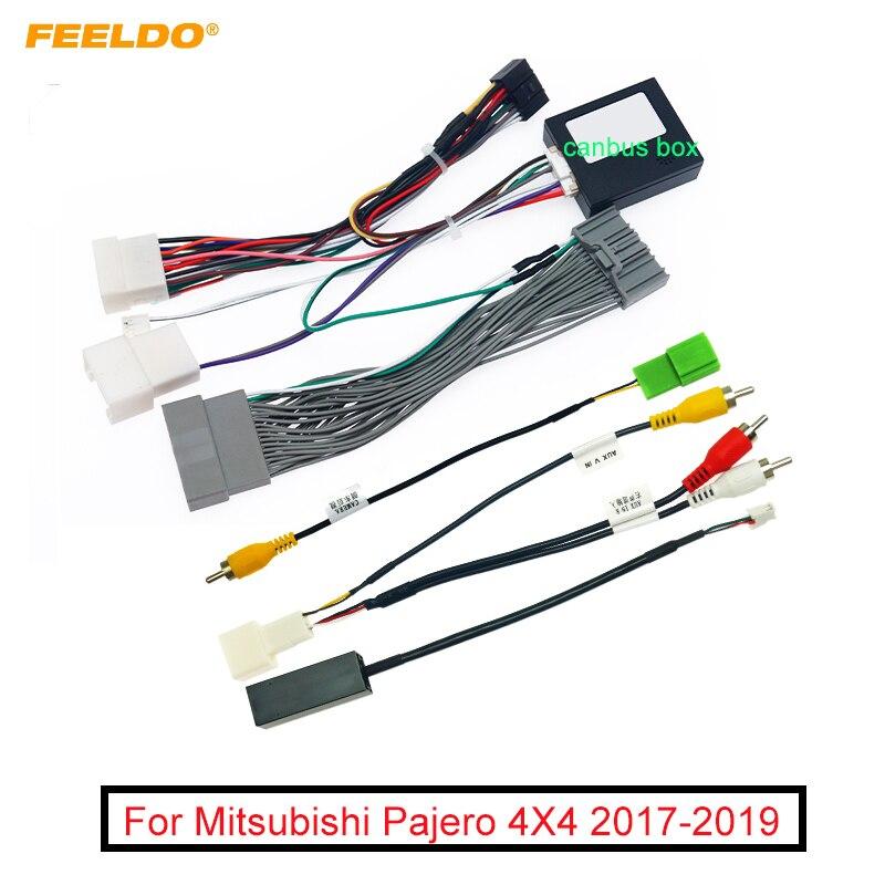 Faisceau de câblage Audio de la voiture 16pin de FEELDO avec la boîte de Canbus pour ladaptateur de fil dinstallation stéréo de marché des accessoires de Mitsubishi Pajero 4X4