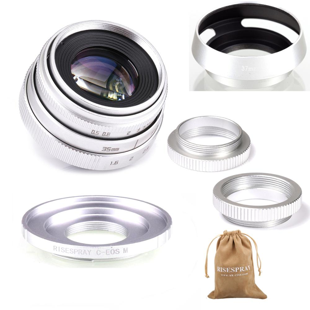 Prata mini 35mm f/1.6 APS-C lente cctv + adaptador anel 2 macro anel + lente capa para canon EF-M eosm mirroless câmera m1/m3/m5