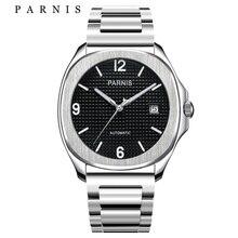 Parnis hommes montres haut de gamme en acier de luxe mécanique montre automatique avec déploiement fermoir noir argent montre pour hommes 2018 nouveau