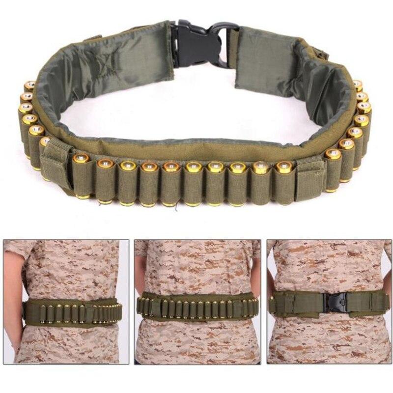 Al aire libre Airsoft caza táctico 25 Shotgun Shell correa de bandolera 12 GA calibre munición titular escopeta militar cartucho cinturón CS Gear