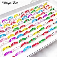 50pcslot fashion colorful transparent acrylic resin printing rings for women girls mix style wedding jewelry party gifts