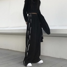 Women's Wide-Leg Pants Spring and Autumn Harajuku High Waist Black High