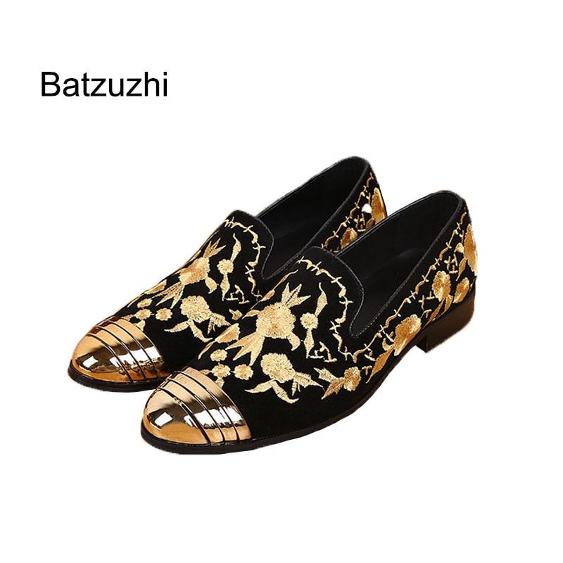 Batzuzhi وصول رجل أحذية أنيقة مطرزة رجل حذاء مسطح جلد الصلب الأصابع عارضة المصمم أحذية خفيفة بدون كعب ، حجم EU38-46!