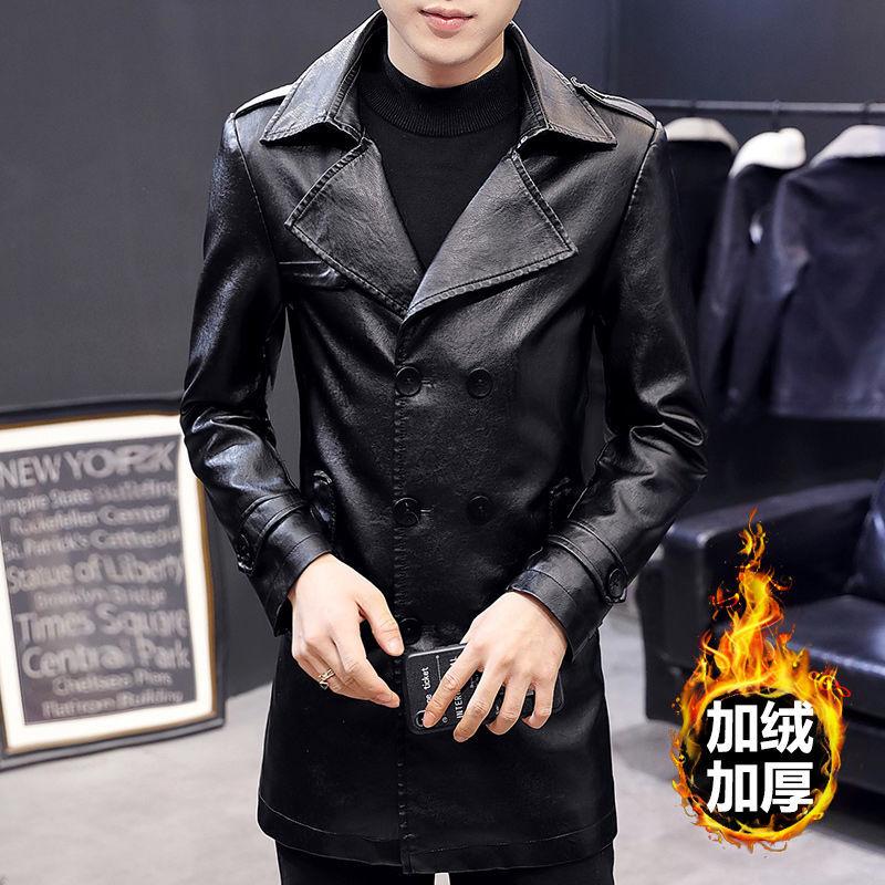 الرجال سترة جلدية الخريف والشتاء الكورية نمط الشباب الصوف دعوى طوق منتصف طول سترة خندق معطف