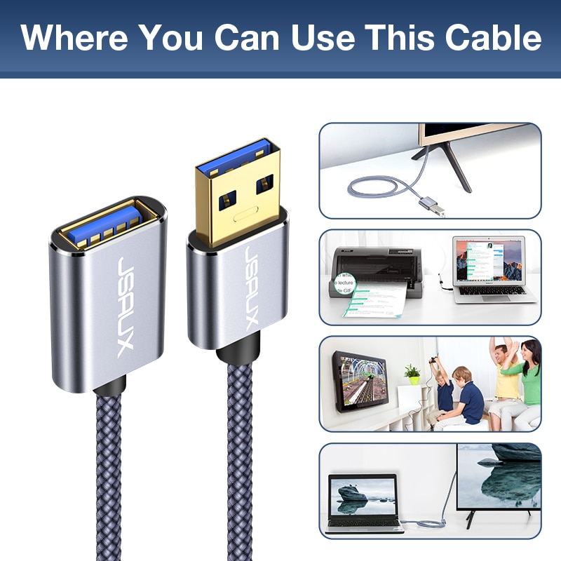 Купить с кэшбэком USB Extension Cable JSAUX USB 3.0 A Male to USB A Female PS4 TV SSD Extender Cord 5Gbps Data Transfer USB Flash Drive Keyboard