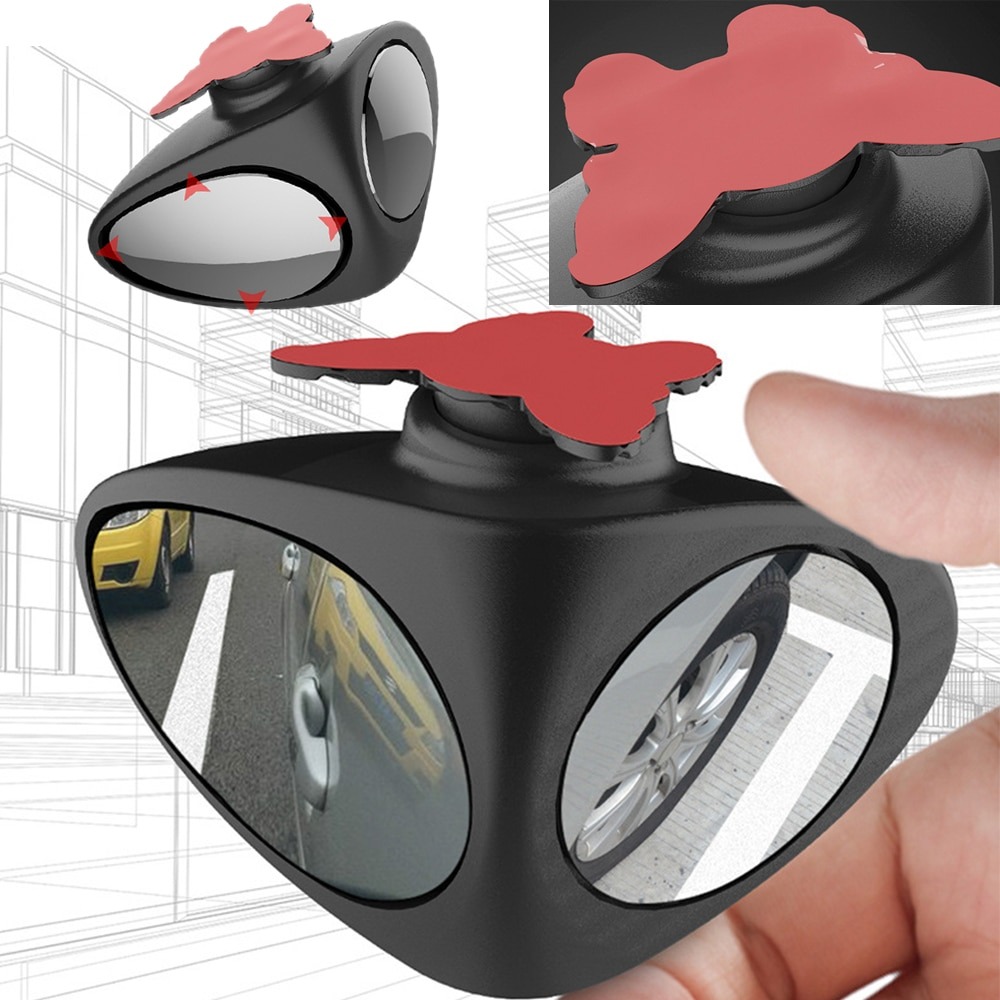 360 Degree Rotatable 2 Side Car Blind Spot Convex Mirror Automibile Wide Angle Exterior Parking Safety Adjustable Accessories