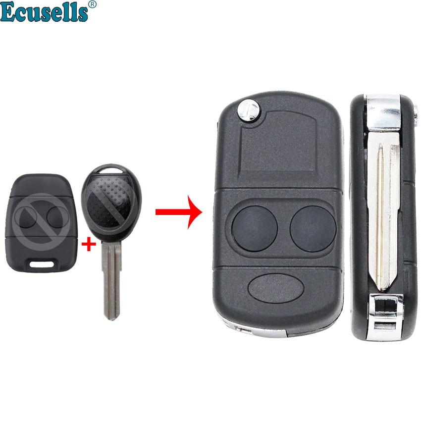 Modificado plegable mando a distancia cáscara 2 botones para Land Rover Defender descubrimiento Freelander Rover 100 200 25 400 45 MG TF ZR ZS
