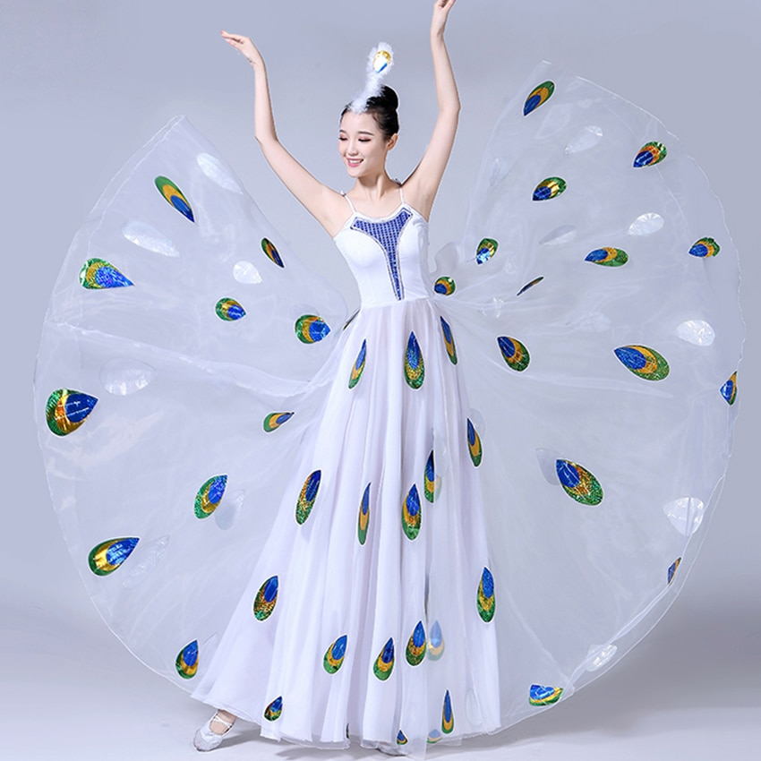 Adult Bullfighting Stage Perofrmance Wear Gypsy Spanish Dress Women Girl Flamenco Big Wing Ballroom Peacock Fancy Chiffon Dress