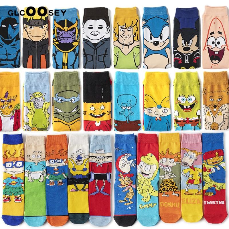 Men's Cartoon Long Socks Happy Anime Funny Socks Men Hip Hop Personality Cool Crew Socks Street Fashion Skarpety Sewing Pattern