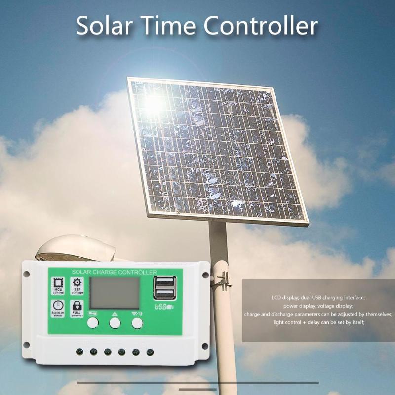 12 V/24 V Auto paremetro ajustable PWM LCD Controlador Solar regulador temporizador ajustar parámetros de carga y descarga