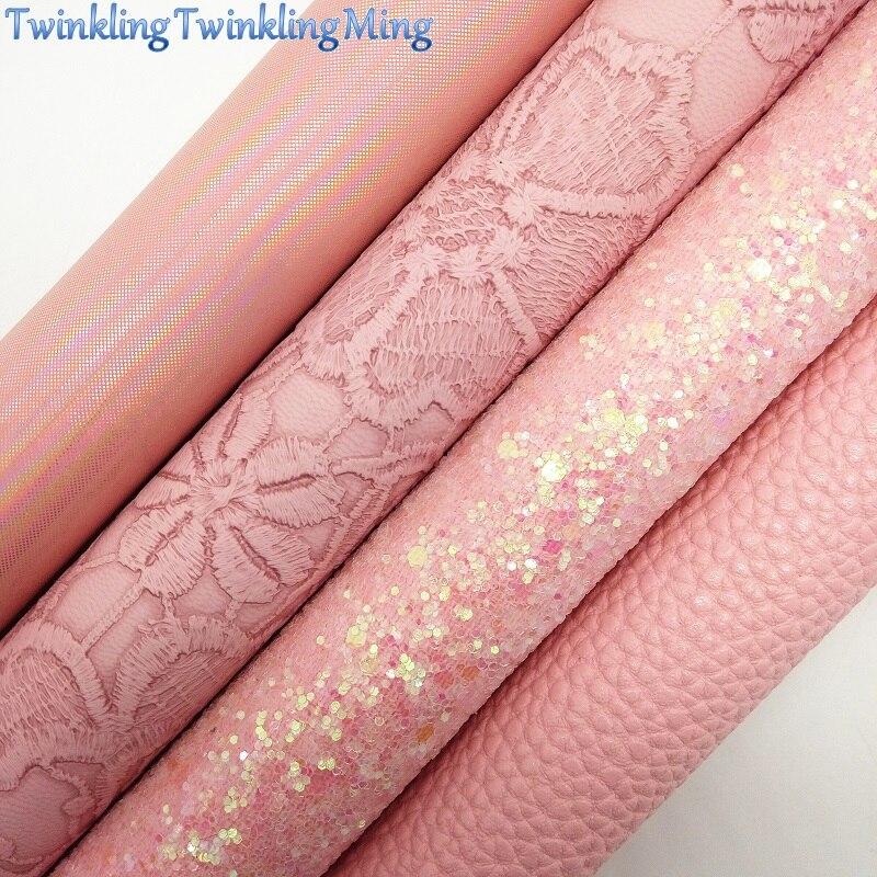 A tela rosa do brilho, couro sintético de litchi, folhas da tela do falso das flores para a curva a4 21x29cm cintilando ming xm008g