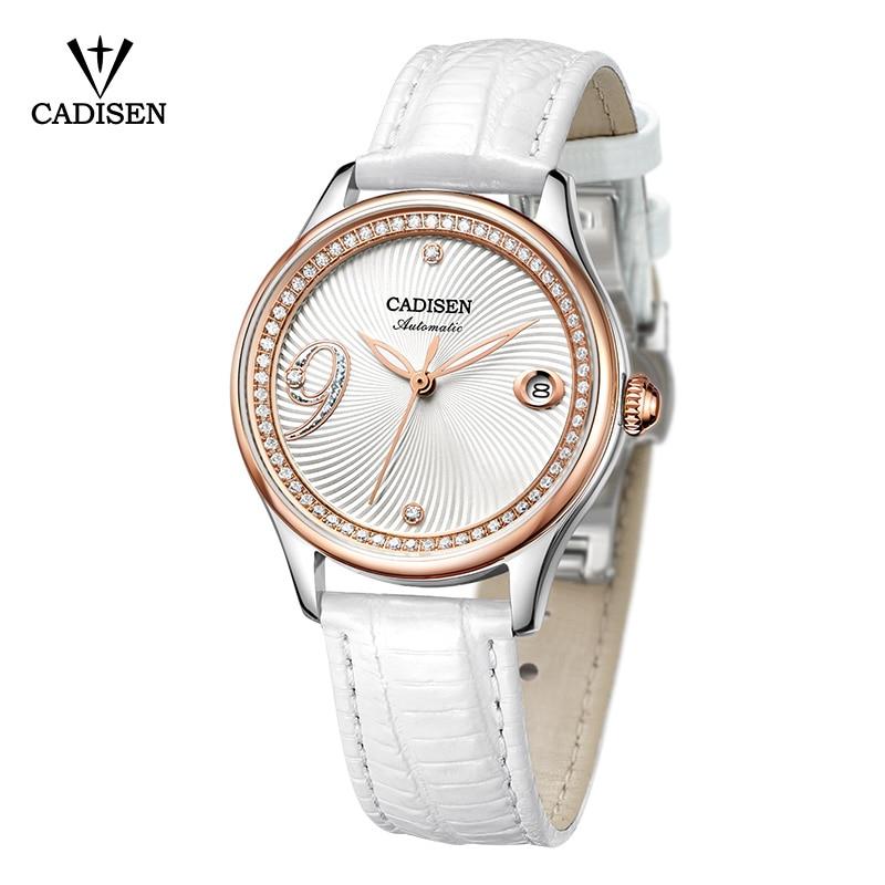 CADISEN Women Watch Automatic Leather Stainless steel Fashion Business Top Brand Luxury Waterproof Wristwatch relogio feminino