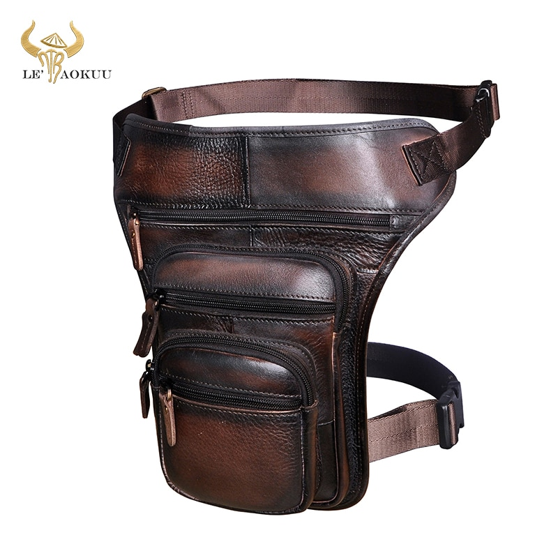 Hot Sale Original Leather Design Men Blue Messenger Mochila Bag Fashion Organizer Fanny Waist Belt Pack Drop Leg Bag Male 3111