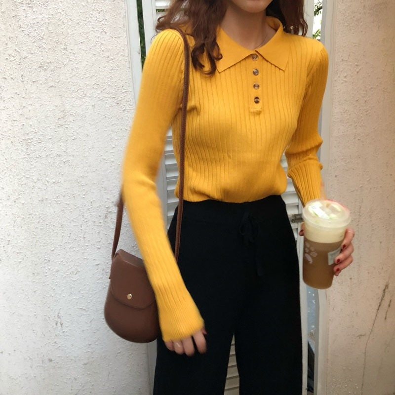 Mujeres Knit Tops botón cuello de tortuga jerseys primavera otoño sólido tejido Pullover Slim Soft Jumper Sweater