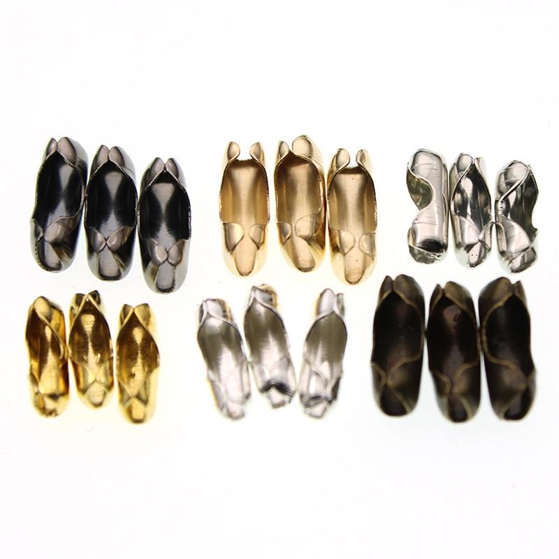 200 unids/lote 1,5 2 3,2mm Cadena de cuentas de bolas de oro plateado cierres conectores de cuentas de extremo engarce para DIY joyería hacer encontrar suministros