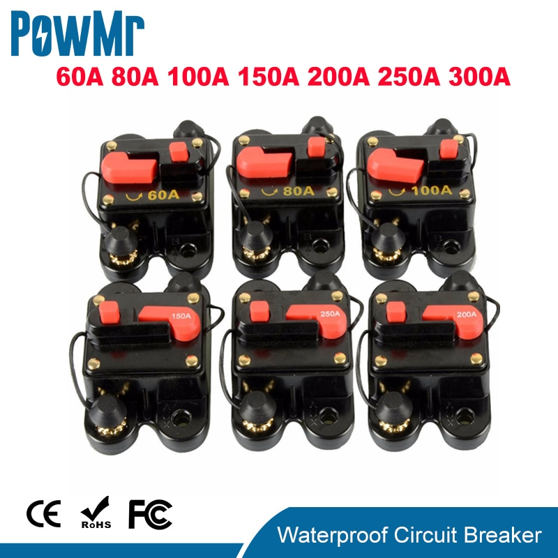 12V 24V DC Home Solar System Waterproof Circuit Breaker Reset Fuse Inverter
