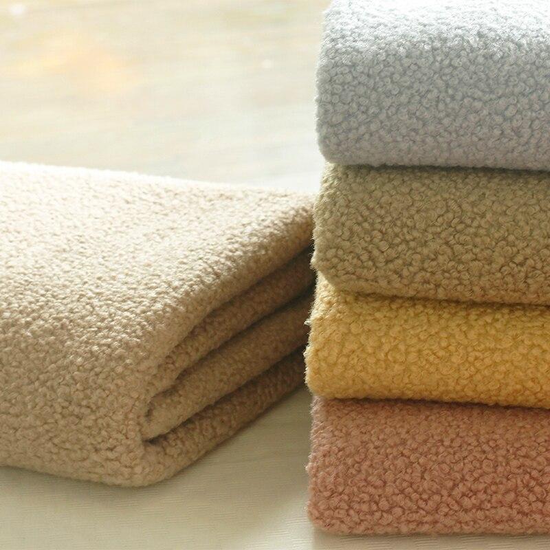 Jersey de poliéster, tejido Polar, lana sintética de cordero para abrigo, chaqueta, manta de lana de medio metro