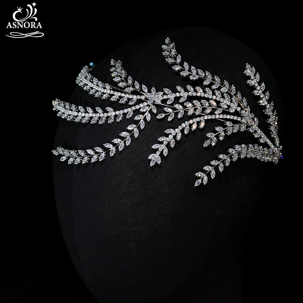 ASNORA-إكسسوارات شعر الزفاف ، عصابة رأس ناعمة من الزركونيا المكعبة ، غطاء رأس للعروس ، عشاء ، حفلة ، A01031