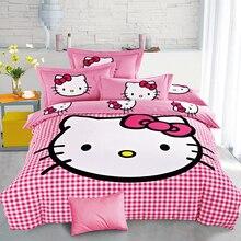 Hello Kitty zestaw pościeli bawełnianej dla dzieci Cartoon pościel Stitch Doraemon kołdra zestaw osłon prześcieradło poszewka na poduszkę podwójne, pełne rozmiar Queen