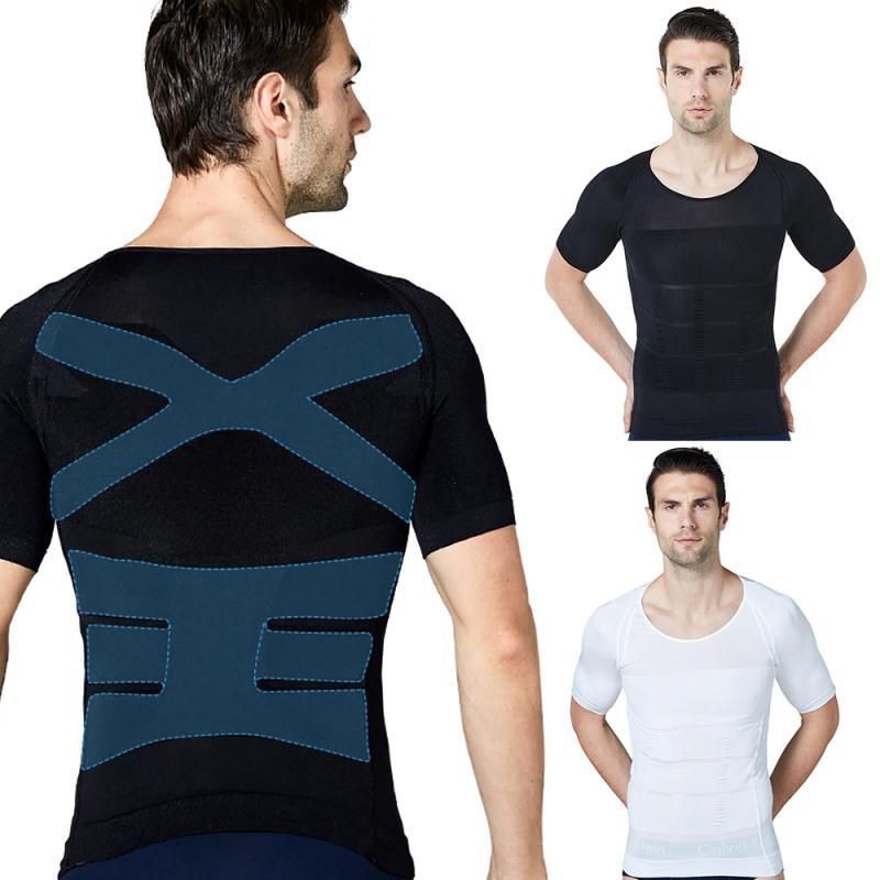 Camiseta ajustada para hombre, camiseta interior, Body, cinturón, entrenador, corsé de manga corta, modelador de cuerpo, camiseta de compresión, tren