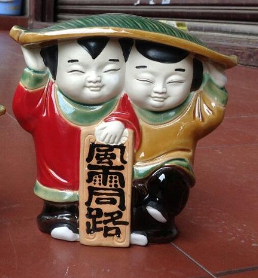 Storm road regalo de boda muñeca Shiwan cerámica china Zen Bogu marco figura escultura estatua decoración del hogar