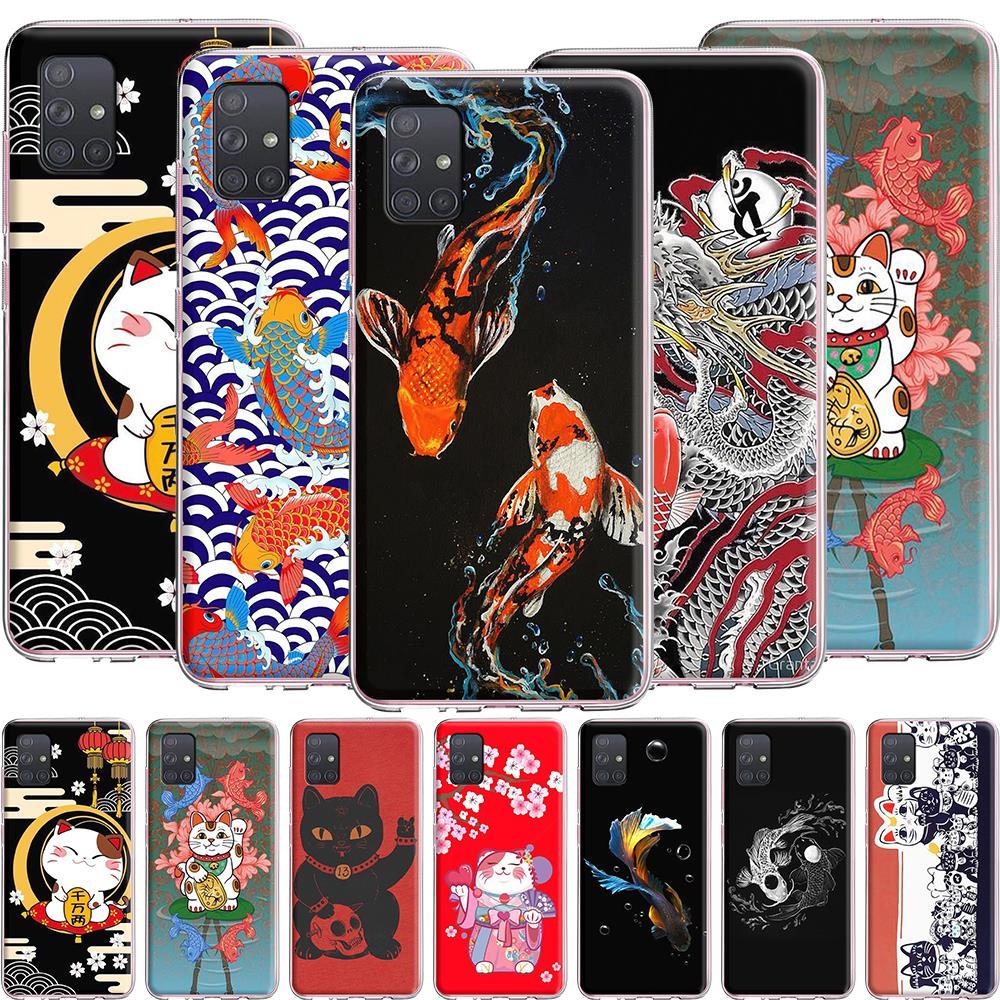 Peces Koi gato de la suerte silicona caso para Samsung Galaxy A2 A5 A6 A7 A8 A9 J3 J4 J5 J6 J7 J7 J8 Plus primer 2018