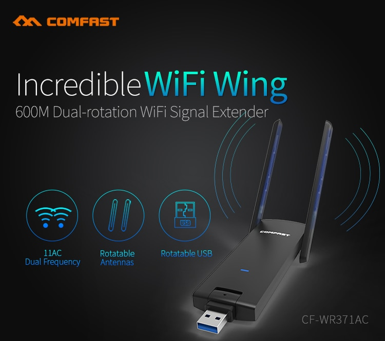 1PCS usb CF-WR371AC 600Mbps comfast WiFi Repeater 11AC Gigabit dual frequency 5g desktop laptop computer WiFi receiver remote