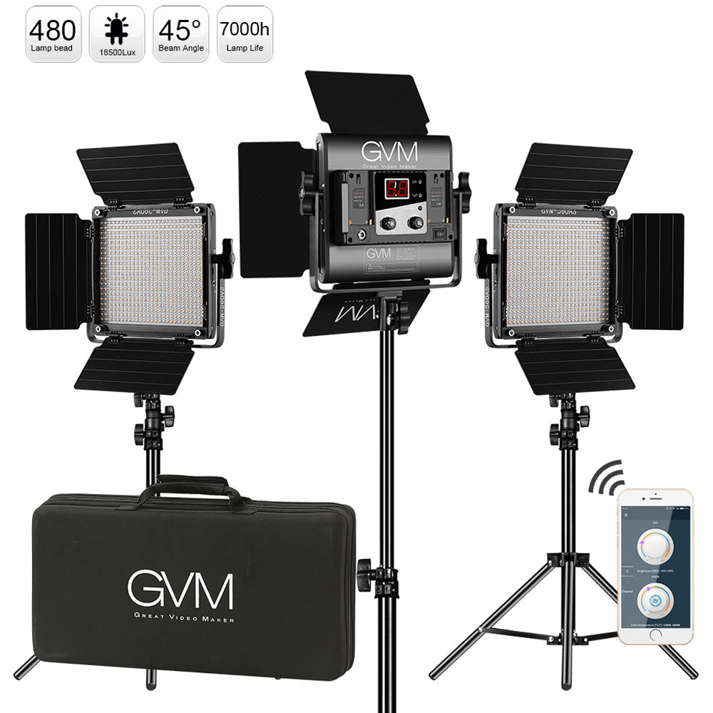 Kit de 3 luces GVM 560AS LED Bicolor iluminación fotográfica Video estudio 560 Panel de lámpara LED con trípode soporte Barndoor aplicación remota