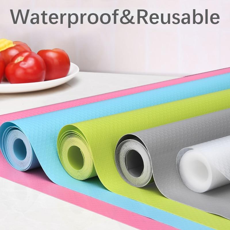 Cubierta de estante reutilizable, alfombrilla para armario esterilla para cajones, resistente al agua, antipolvo, antideslizante, para nevera, mesa de cocina, almohadilla de papel