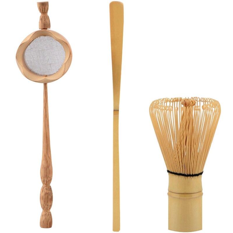 Natural Bamboo Tea Strainer Matcha Whisk Brush Green Tea Powder Whisk Scoop Set Tea Utensils Set Kitchen Accessories 3Pcs