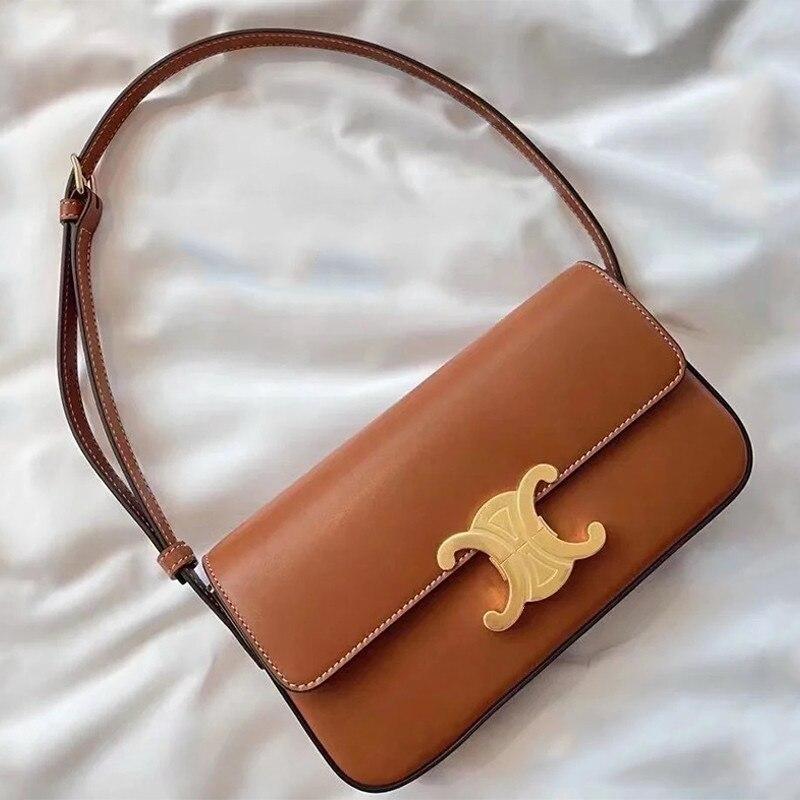 حقيبة نسائية جلدية عالية الجودة 2021 حقيبة كتف واحدة جديدة عبر حقيبة الذراع امرأة قفل مقبض حقيبة الرغيف الفرنسي