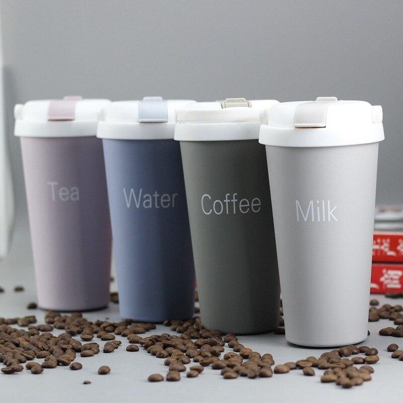 Tazas de café de acero inoxidable, tazas de té gruesas, tazas grandes de viaje, taza de Camping, vaso aislado al vacío con tapa 500 termo ML