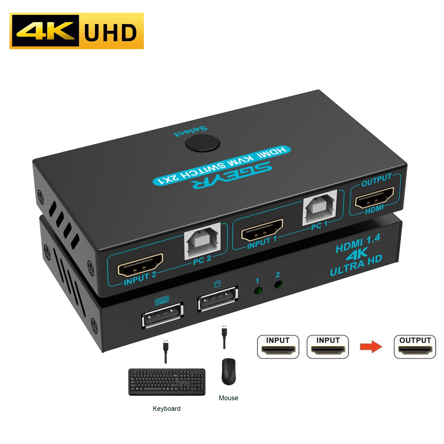 2x1 kvm switch box selector dvi switch 2 in 1 out sharing usb 2 0 monitor mouse keyboard for 2 computer laptop pc keyboard 4K HDMI KVM Switch USB KVM Switch Splitter 2 In 1 Out Box Video Display For 2 PC Sharing Keyboard Mouse Printer Play And Plug