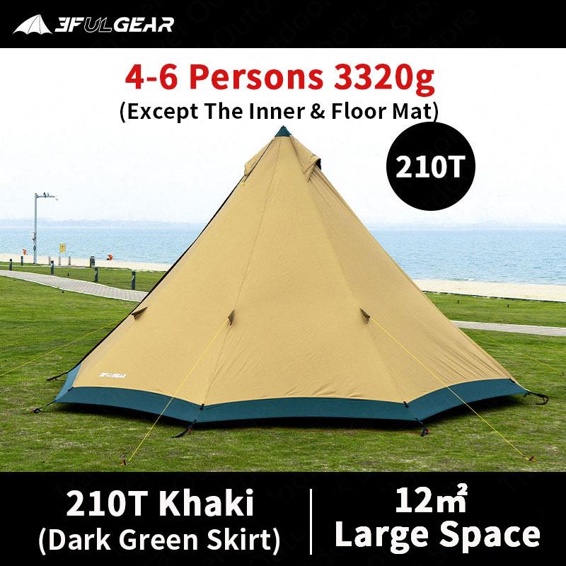 3F UL GEAR TRIBE-خيمة تخييم كبيرة تتسع من 4 إلى 6 أشخاص ، مقاومة للرياح وتنورة ثلجية ، 4 مواسم ، 40D/210T