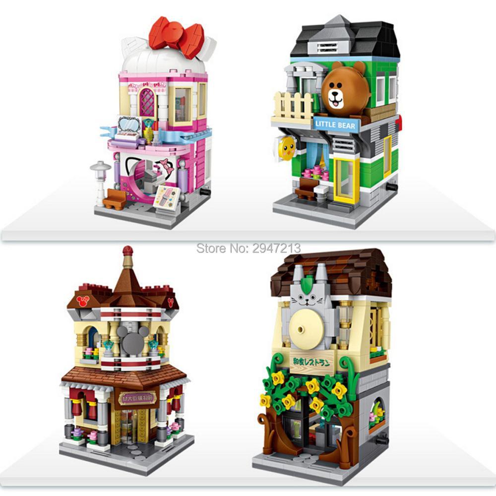 ¡Producto en oferta! Lepining arquitectura urbana, cosméticos con vista de calle, tienda de restaurante little bear, mini bloques de diamantes, juguetes de bloques de Modelismo