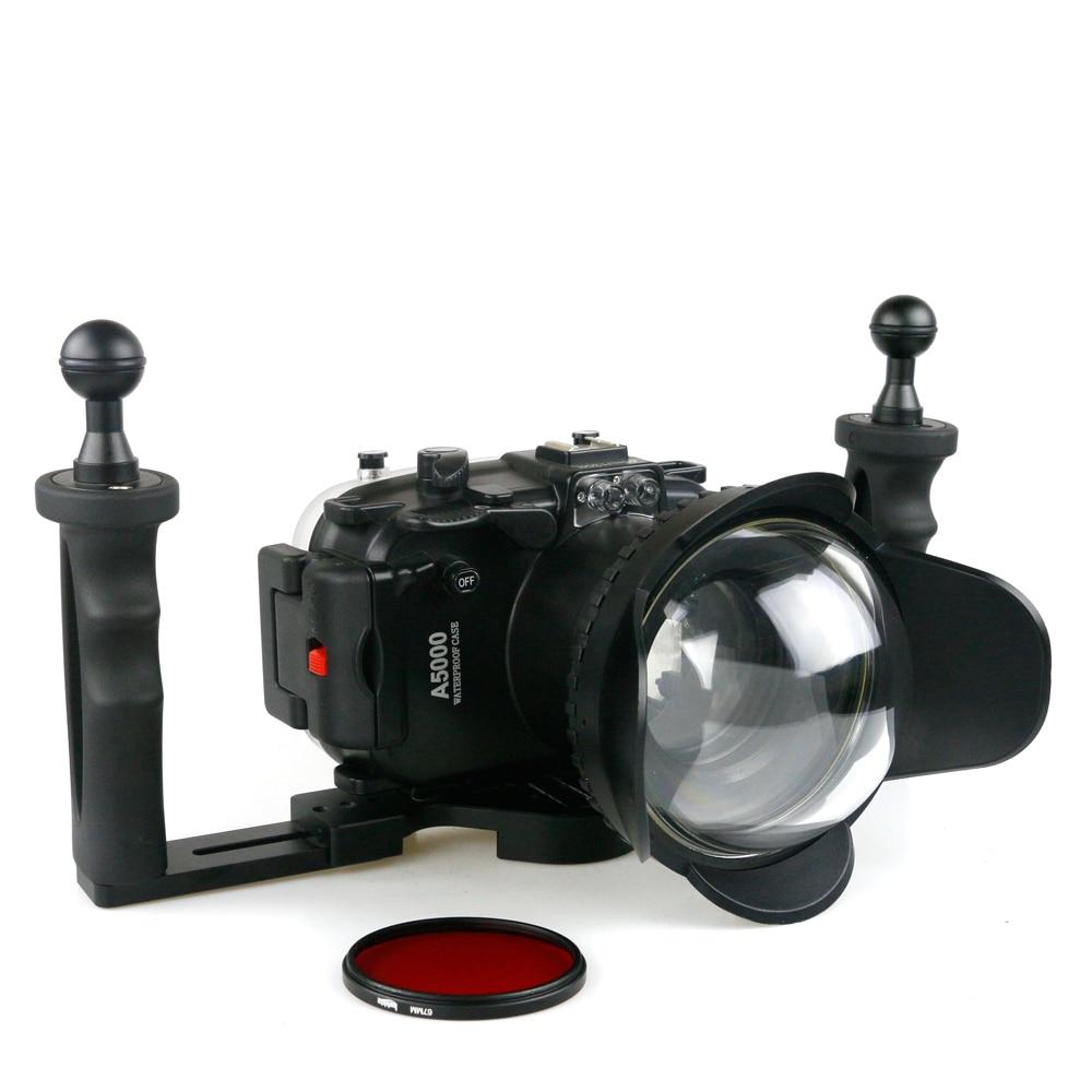 لسوني A5000 A5100 كاميرا مثبت مضاد للماء حالة الغوص تحت الماء 40 متر التصوير جهاز تصفية عين السمكة استقرار