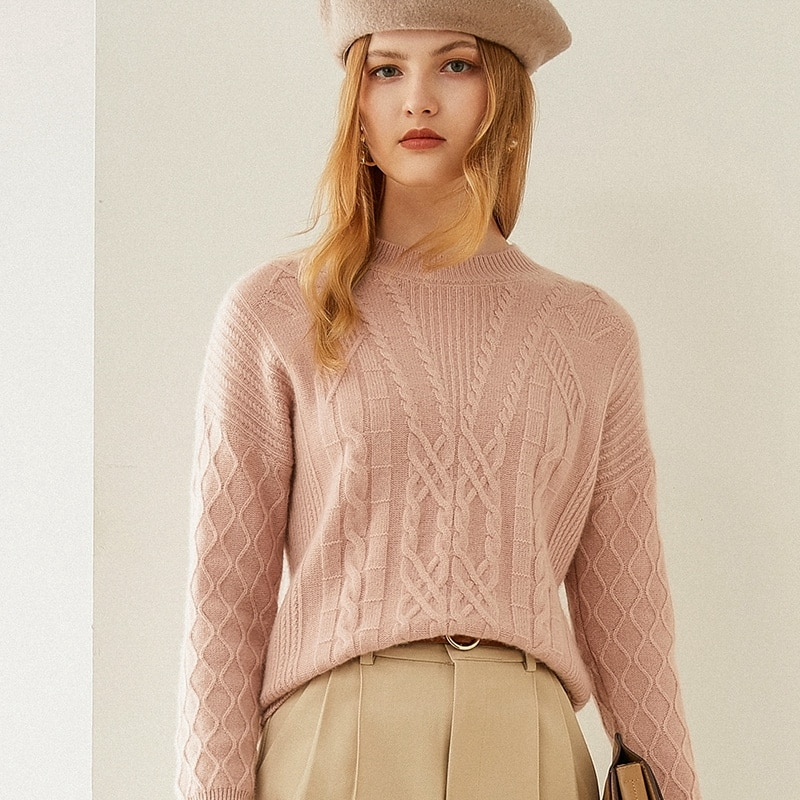Tailor Shop Custom Made Autumn and Winter New Style  Pure Cashmere Sweater Women Half High Neck Loose Sweater Short Knit Bot enlarge