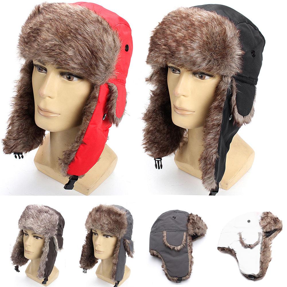 Unisex Winter Trapper Trooper Earflap Warm Russian Ski Hat Fur Ushanka Ear Flaps Winter Hat Fur Cap