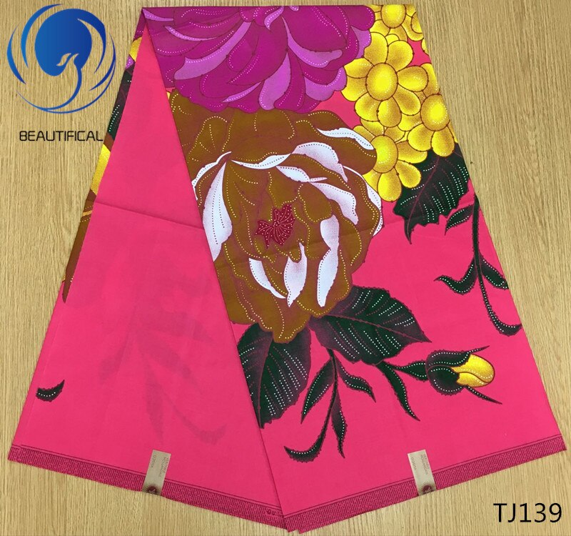 LIULANZHI 100% algodón de cera Africana tela boda tela de cera imprimir flores ankara tela de cera 6 yardas/lote TJ132-TJ149