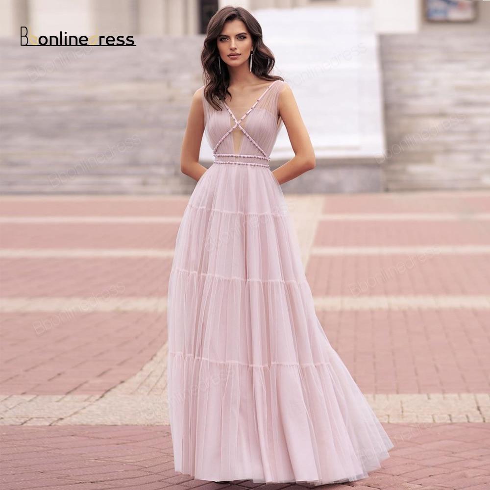 2020 New Elegant Evening Dress A-Line Tulle Evening Dresses Long V-Neck Floor Length Formal Party Gown 2020 robe de soiree недорого