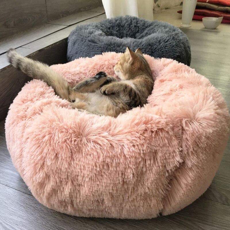 Cama redonda para gatos de felpa larga, supersuave, para mascotas, caseta para...
